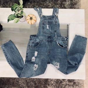 Forever 21 Denim distressed button up overalls